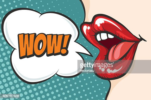 Pop art lips with WOW bubble : stock vector