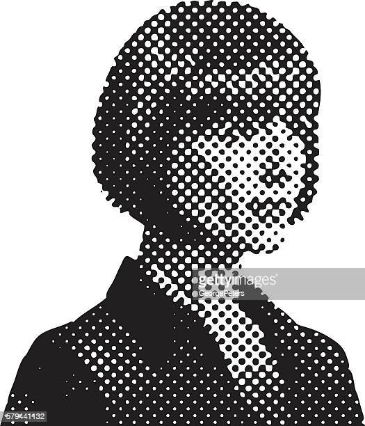 Pop Art Retro Businesswoman with Halftone Pattern