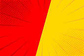 Pop art retro comic. Yellow and red background. Versus lightning blast halftone dots. Cartoon vs. Vector Illustration