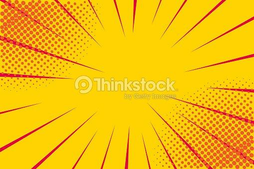 Pop art retro comic. Yellow background. Lightning blast halftone dots. Cartoon vs. Vector Illustration : stock vector