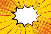 Pop art retro comic. Yellow background superhero. Lightning blast halftone dots. Cartoon vs. Vector Illustration