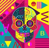 Pop art skull vector pink color