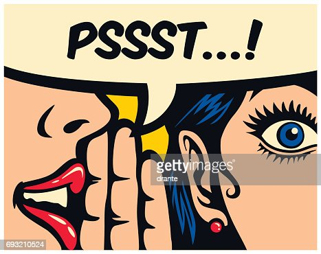 Pop art style comics panel gossip girl whispering secret in ear word of mouth vector illustration : Vector Art