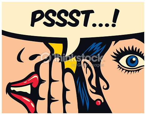 Pop art style comics panel gossip girl whispering secret in ear word of mouth vector illustration : stock vector