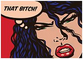 Pop art style comic book panel jealous woman sick with envy and speech bubble vector illustration