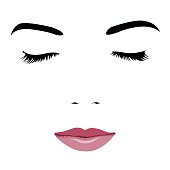 Pop art style simplified portrait of young beauty face with closed eyes. Easy editable layered vector illustration.