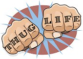 Vintage Pop Art Thug Life Punching Fists. Great illustration of pop Art comic book style punching directly at you with the classic Gangster tattoo message.