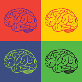 Human brain pop art background