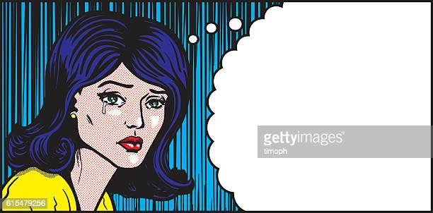 Pop art woman crying thought