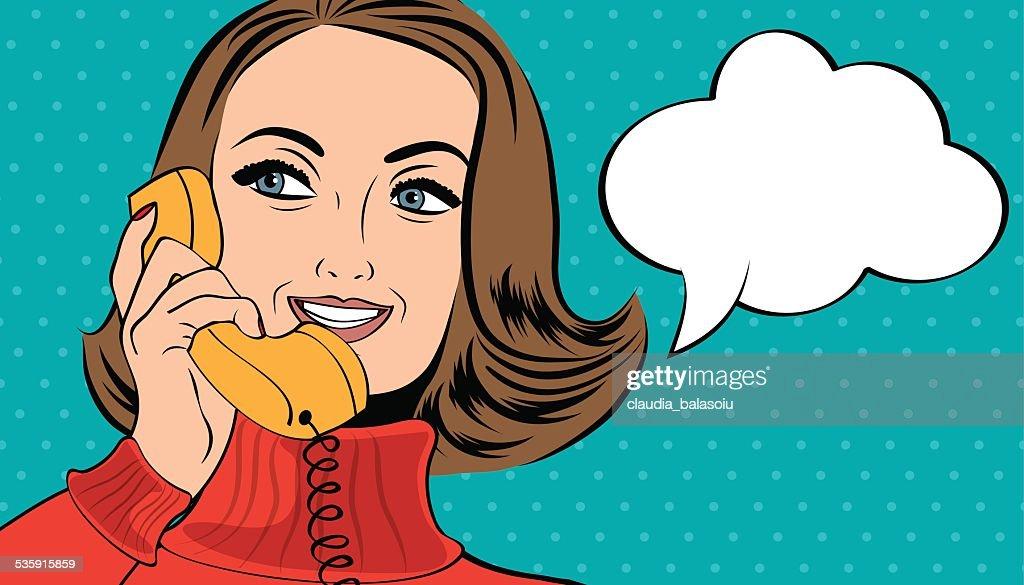 pop art  woman in comics style talking on the phone : Vector Art