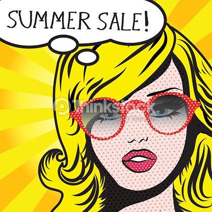 pop art woman summer sale sign vector illustration vector art