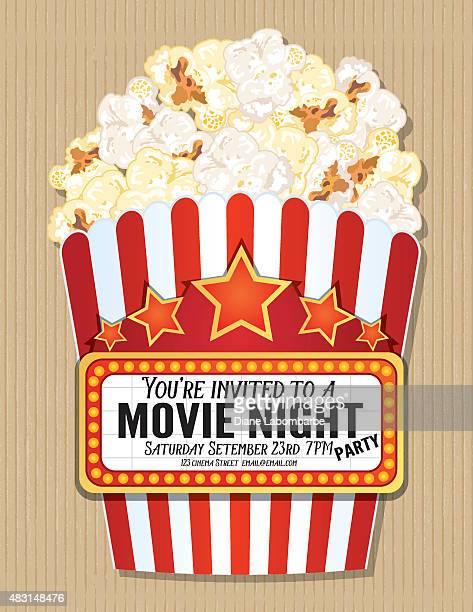 Popcorn Box Movie Night Invitation Template