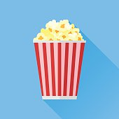 Popcorn flat icon with long shadow on blue background
