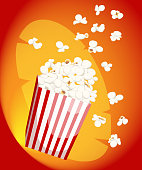 Popcorn icon symbol food cinema movie film flat vector stock bowl full of popcorn and paper glass Flat Design Style Fresh cartoon different Web site page and mobile app design.