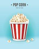 Popcorn in in striped box, vector illustration