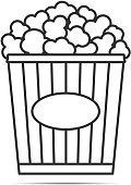 Popcorn line icon on white background, vector eps10 illustration
