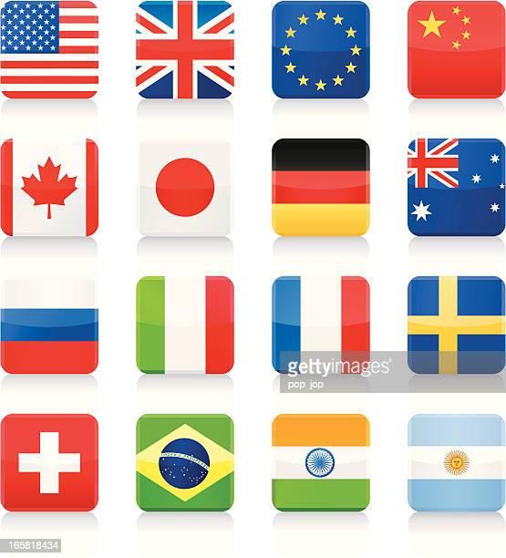 Des icônes de drapeaux mètres