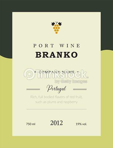 Port Wine Label Vector Premium Template Set Clean And Modern Design Branco White National Portuguese