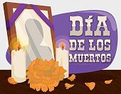 """Poster with traditional altar with a deceased frame, candles and cempasuchil or marigold flower to remember and pay respect to the dead in """"Dia de Muertos"""" (Spanish for """"Day of the Dead"""")."""