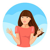 Young woman shrugging her shoulder and making an perplexity expression. Vector illustration.