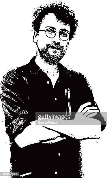 Porträt einer Hipster Mann mit Bart und Schnurrbart