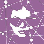 Front view of the head of a woman wearing sunglasses. Scientific medical design. Molecule and communication pattern. Connected lines with dots.