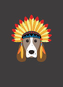 Portrait of dog, wearing feather hat, like The Indians, cool style