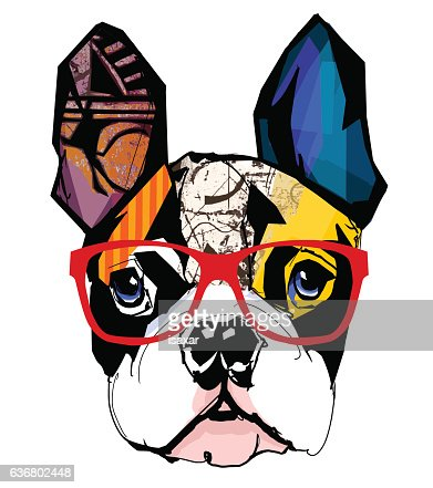 Portrait of french bulldog wearing sunglasses : stock vector