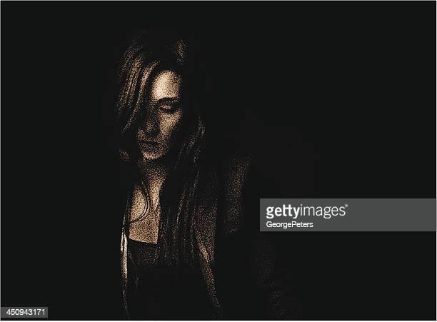 Portrait of Sad Woman Low Key Sepia
