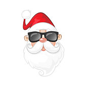 Portrait of Santa Claus with sunglasses - cartoon style