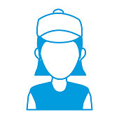portrait woman character avatar employee icon vector illustration