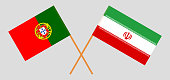 Portugal and Iran. The Portuguese and Iranian flags. Official colors. Correct proportion. Vector illustration