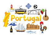 Portugal background design. Portuguese national traditional symbols and objects.