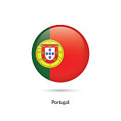 Portugal flag - round glossy button. Vector Illustration.