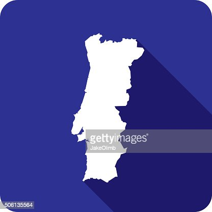 Portugal Map Icon Flat Design Long Shadow Vector Art Getty Images - Portugal map icon