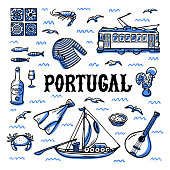 Portugal landmarks set. Hand drawn sketch style vector illustration.
