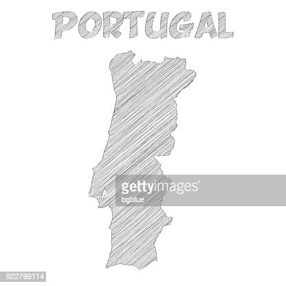 Portugal Map Hand Drawn On White Background Vector Art Getty Images - Portugal map black and white