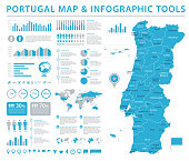 Portugal Map - Detailed Info Graphic Vector Illustration