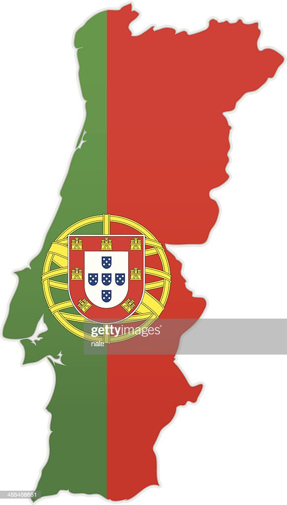 Portugal Map With Flag Vector Art Getty Images - Portugal map flag