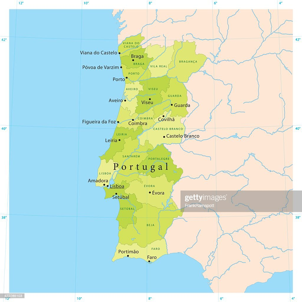 Portugal Vector Map Vector Art Getty Images - Portugal map vector