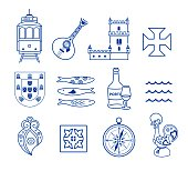 Portugese icon set vector collection