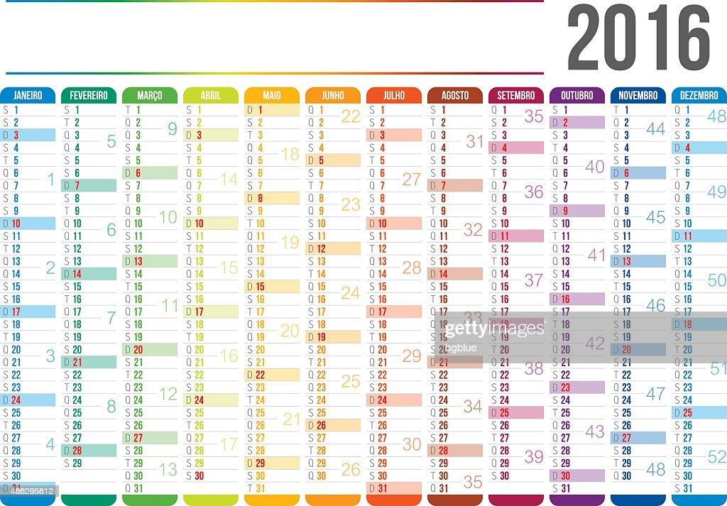 Portuguese Calendar 2016 Vector Art | Getty Images