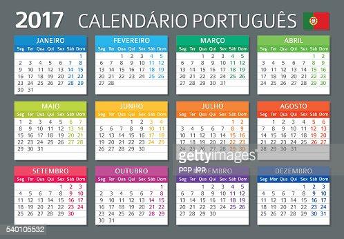 Calendario Vectorizado.Portuguese Calendar 2017 Calendario Portugues 2017 Vector
