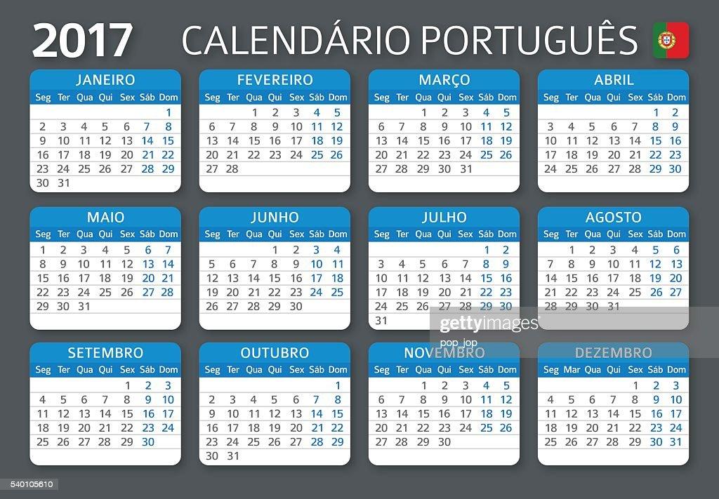 Portuguese Calendar 2017 / Calendario Portugues 2017