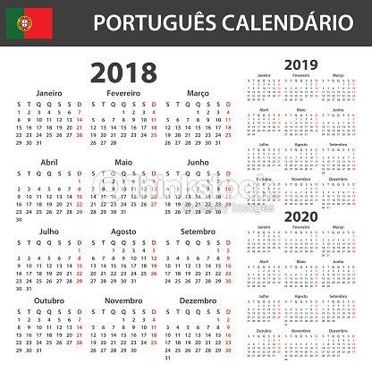 Calendrier Agenda 2020.Portuguese Calendar For 2018 2019 And 2020 Scheduler Agenda