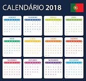Portuguese Calendar for 2018. Scheduler, agenda or diary template. Week starts on Monday