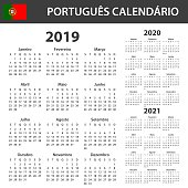 Portuguese Calendar for 2019, 2020 and 2021. Scheduler, agenda or diary template. Week starts on Monday