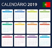 Portuguese Calendar for 2019. Scheduler, agenda or diary template. Week starts on Monday