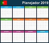 Portuguese Planner blank for 2019. Scheduler, agenda or diary template. Week starts on Monday