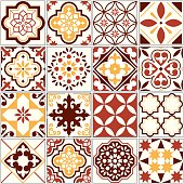 Ornamental tile background, background inspired by Spanish and Portuguese traditional tiles with flowers and geometric shapes